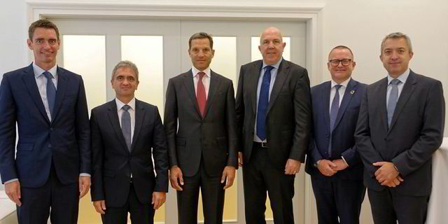 Trafigura and MAN ES executives at the announcement