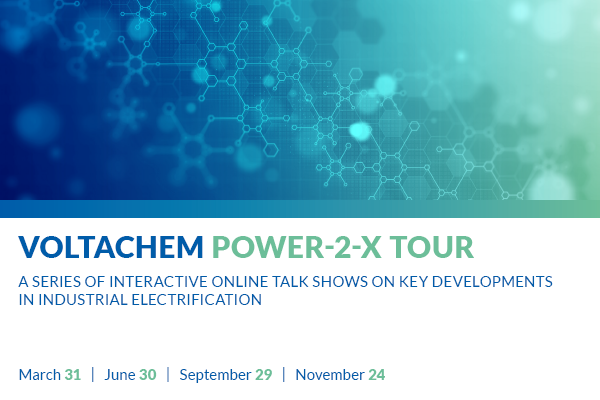 Voltachem will run four online P-to-X events in 2021 exploring electrification of industrial processes in NW Europe