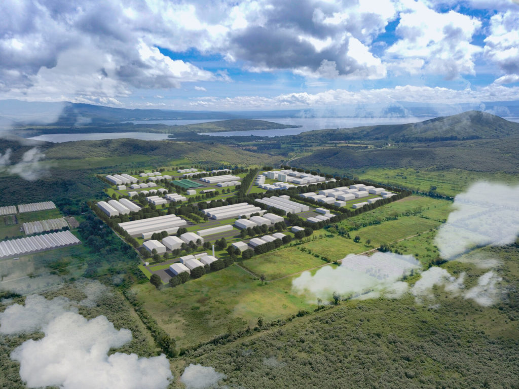 Visualisation of the Oserian Two Lakes Industrial Park in Kenya, soon to be home to a new, green power-to-fertiliser plant.
