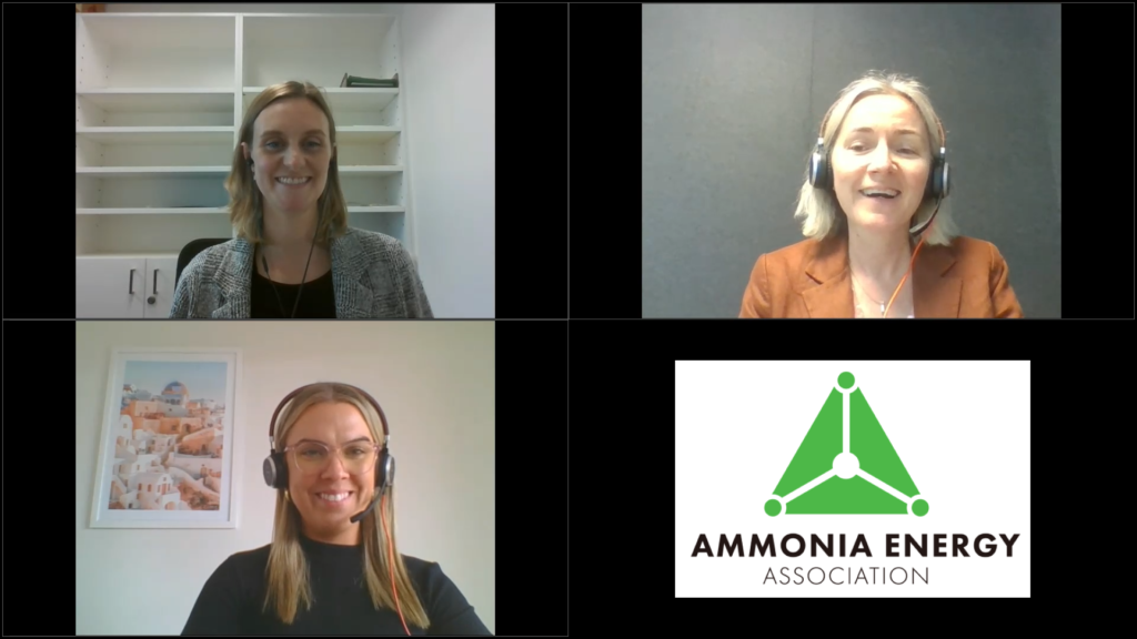 Sarah Tincknell from Origin Energy joins us for Ammonia Energy Live (top right). Sarah is interviewed by Emily Heenan (bottom left) and Jacinta Bakker (top left).