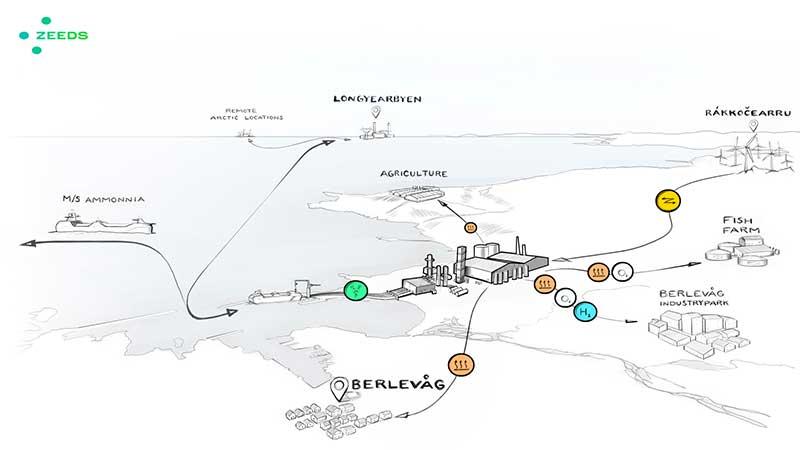 "Graphic visualistaion of Berlevag's future ""green ammonia ecosystem""."