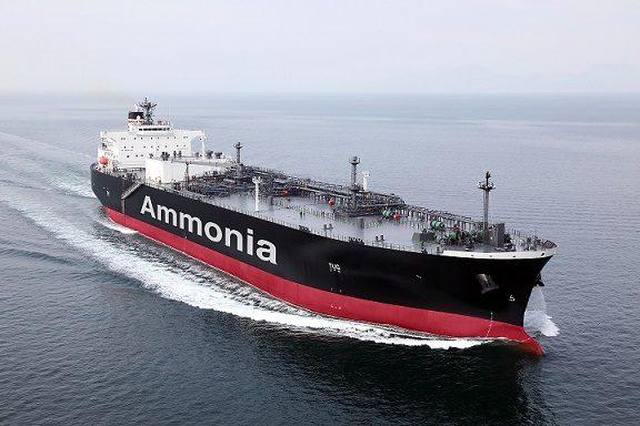 Visualisation of a future ammonia-fueled, ammonia gas carrier (AFAGC).