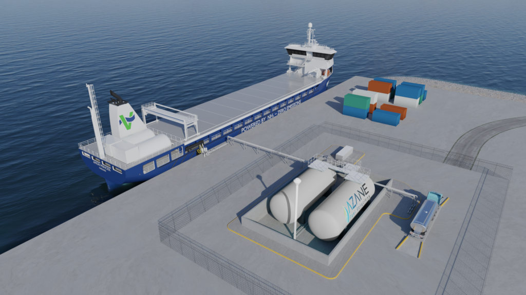 Illustration of the shore-based bunkering option.
