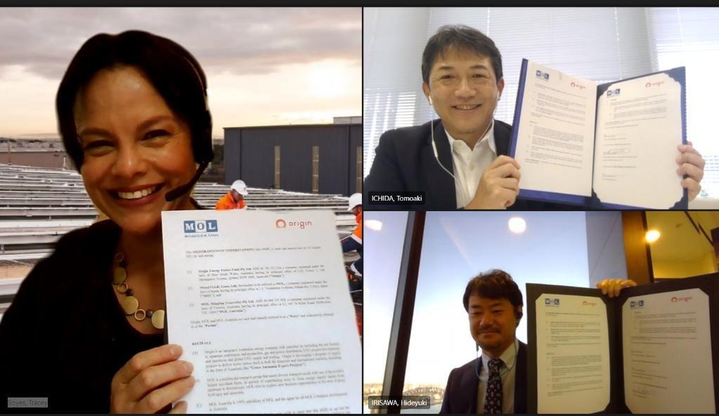 Origin and MOL executives at the virtual MoU signing last week.