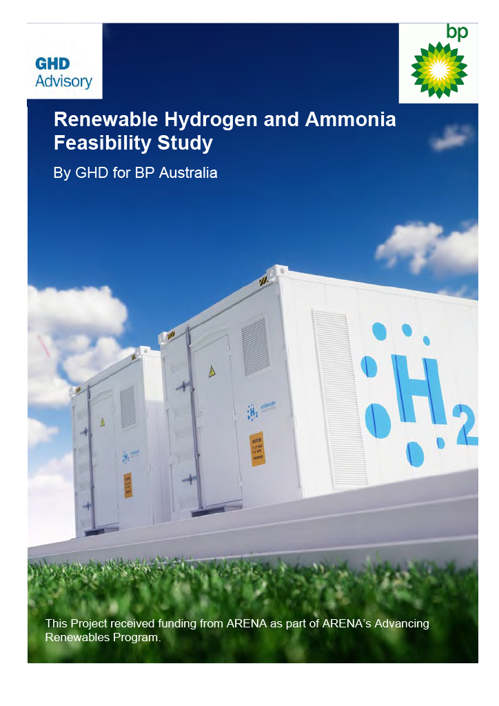 Renewable Hydrogen and Ammonia in Western Australia Feasibility Study from GHD Advisory, bp and ARENA.