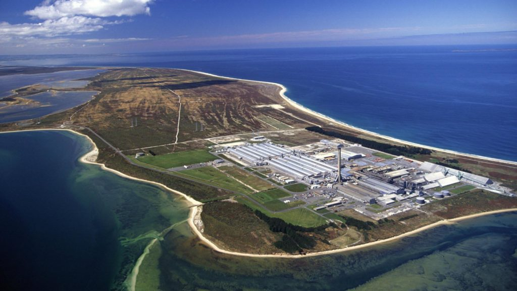 Tiwai Point Aluminum Smelter, the possible location for green hydrogen production in Southland, NZ.