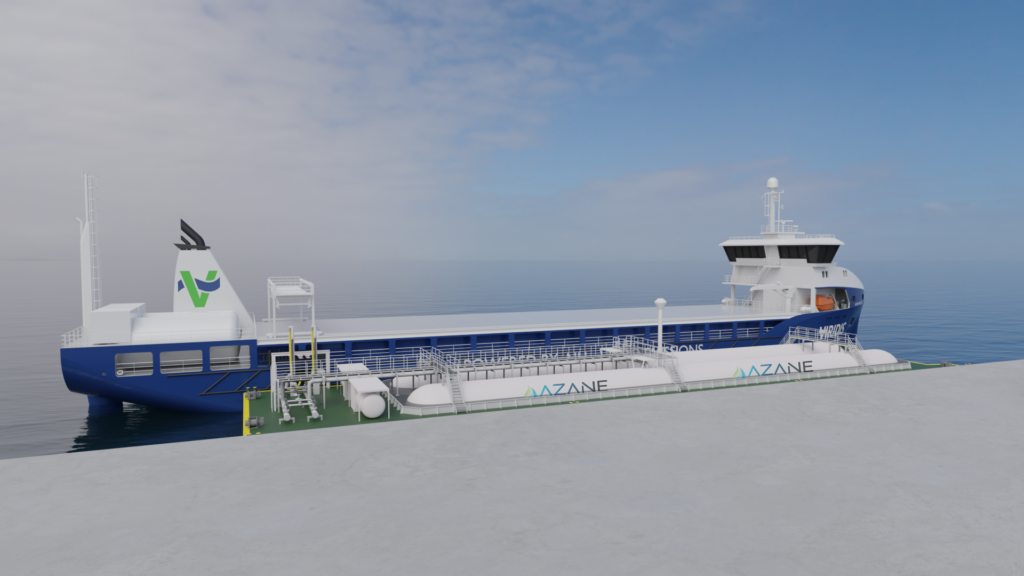 Graphic visualisation of a floating ammonia bunker terminal and barge.