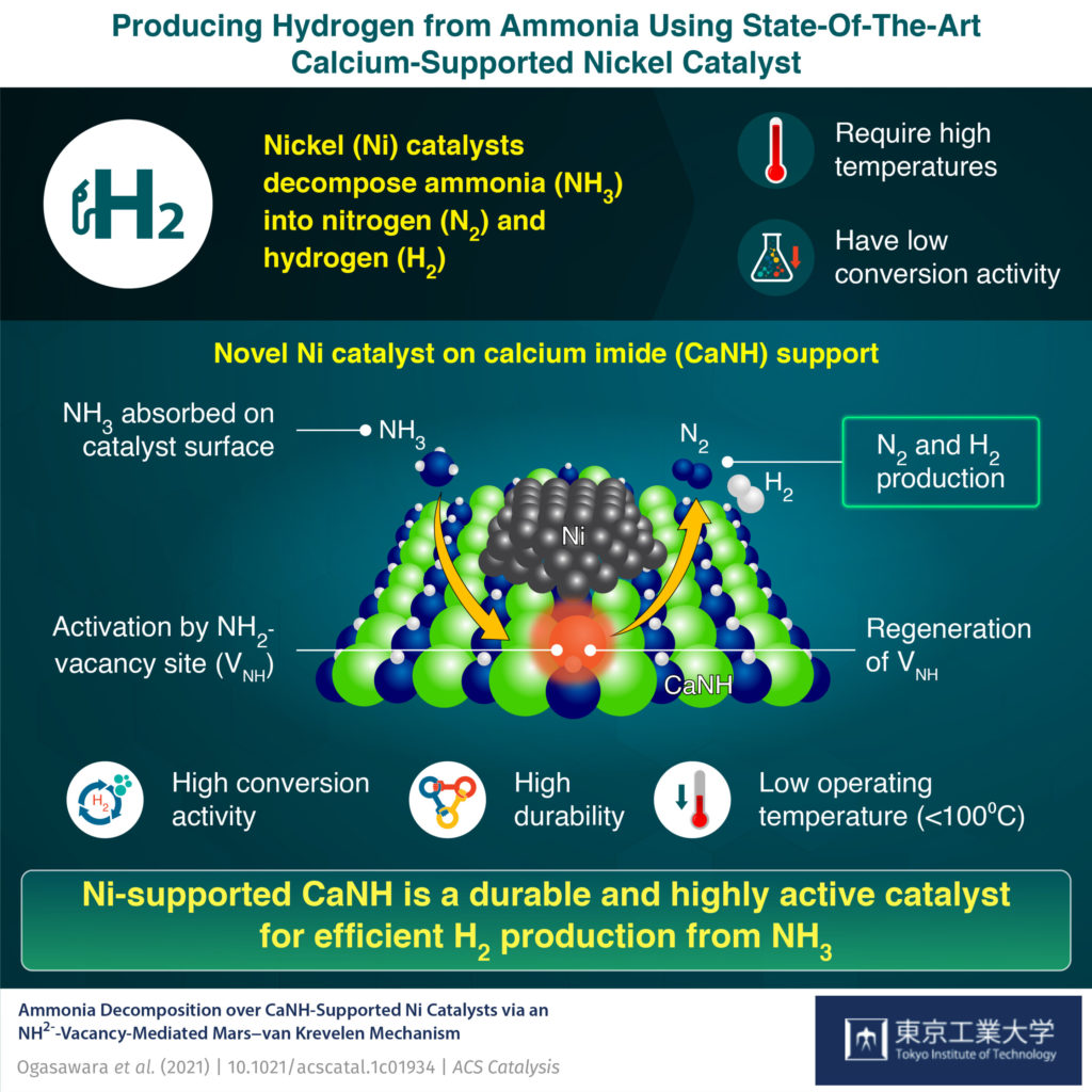 Novel Ni catalyst on calcium imide (CaNH) support.